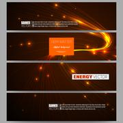 Set of modern banners. Abstract lines background, dynamic glowing decoration Stock Illustration