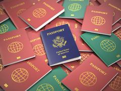 Passport of USA on the pile of different passports. Immigration concept. USA Piirros