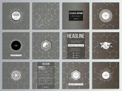 Set of 12 creative cards, square brochure template design. Chemistry pattern - stock illustration