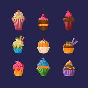 Colorful Cupcakes Collection Stock Illustration