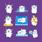 Polar Bear Different Emotions Set - stock illustration