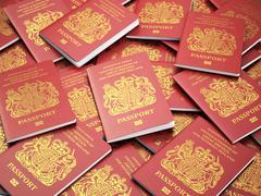 UK British passports for United Kingdom of Great Britain and Northern Ireland Stock Illustration