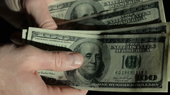 High Angle Male Hands Count Hundred Dollar Bills Stock Footage