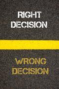 Antonym concept of WRONG DECISION versus RIGHT DECISION - stock photo