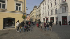 Familes visiting the Town Square in Ljubljana Stock Footage