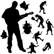 Vector silhouette of the band. - stock illustration