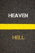 Antonym concept of HELL versus HEAVEN - stock photo