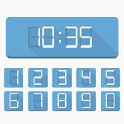 Digital Numbers and Clock - stock illustration