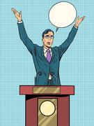 Emotional politician, electoral debates - stock illustration