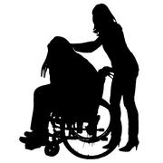 Vector silhouettes of people in a wheelchair. Stock Illustration