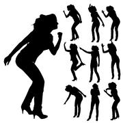 Vector silhouettes of woman. - stock illustration