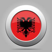 Stock Illustration of metal button with flag of Albania