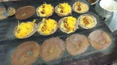 Making Thai crepes (Khanom bueang) in Bangkok Stock Footage