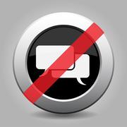 Gray chrome button - no speech bubbles Stock Illustration