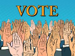 Hands up voting for the candidate Stock Illustration
