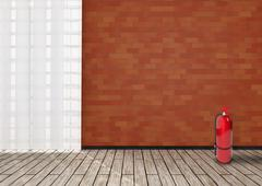 Stock Illustration of Detail of room with red brick wall.