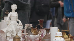 People walking and checking out the flea market in Ljubljana Stock Footage