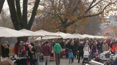 Crowded area in a flea market in Ljubljana Stock Footage