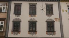 Beautiful window decoration on an old building in Ljubljana Stock Footage