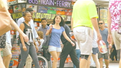 Pedestrians Walking at Queen Street Mall , Brisbane City 4K Stock Footage