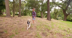 Boy chasing his running puppy dog in park with ball - stock footage