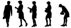 Vector silhouette of women. - stock illustration