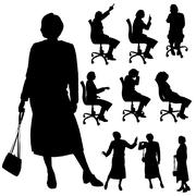 Vector silhouette of woman. - stock illustration