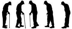 Stock Illustration of Vector silhouette of old people.