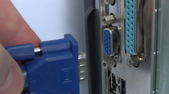 Hand Inserting VGA Cable Into Laptop, Video. - stock footage