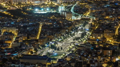 View of Barcelona night timelapse with Square Statute from Bunkers Carmel Stock Footage