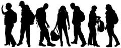 Vector silhouette of a people with a backpack. - stock illustration