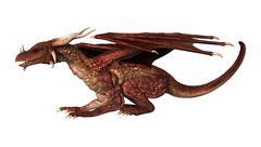 3D Illustration Red Fantasy Dragon on White - stock illustration