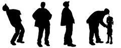 Vector silhouette of an elderly man. - stock illustration