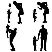 Vector silhouette of people with children. - stock illustration