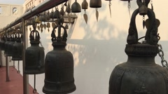 Bells at the golden mount in Bangkok, Thailand Stock Footage