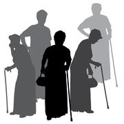 Vector silhouette of old people. Stock Illustration