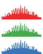 world landscape cityscape group - stock illustration