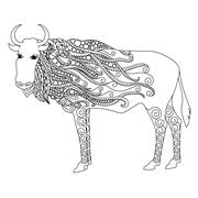 Anti stress coloring page Zentangle bull doodle on white background. Stock Illustration