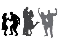Vector silhouette of dance. - stock illustration