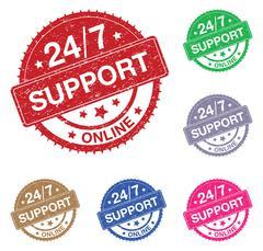 twenty four seven online support sign set - stock illustration