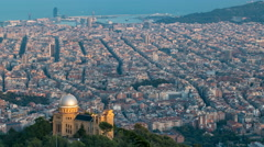 Panorama of Barcelona timelapse from Mount Tibidabo. Catalonia, Spain Stock Footage