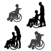 Vector silhouettes of people in a wheelchair. - stock illustration