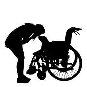 Vector silhouettes of dog in a wheelchair. - stock illustration