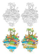 Doodle Summer Vacation Illustration Stock Illustration
