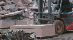 Loader transports the mold sandy - stock footage