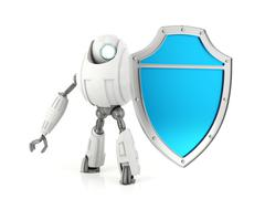 White robot holding blue shield Stock Illustration