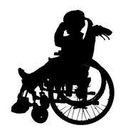 Vector silhouettes of girl in a wheelchair. - stock illustration