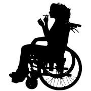 Vector silhouettes of woman in a wheelchair. - stock illustration