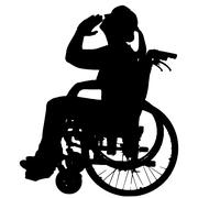 Vector silhouettes of woman in a wheelchair. Stock Illustration