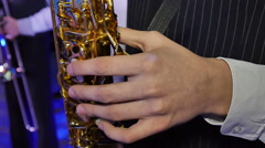 Musician is playing on saxophone Stock Footage